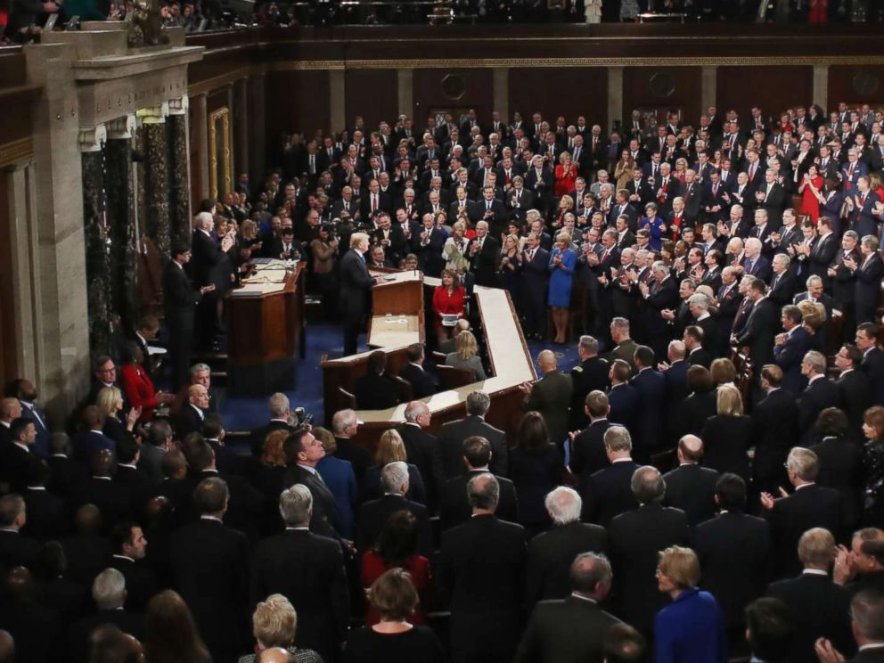 PHOTO: President Donald Trump delivers the State of the Union address in the chamber of the U.S. House of Representatives Jan. 30, 2018 in Washington.