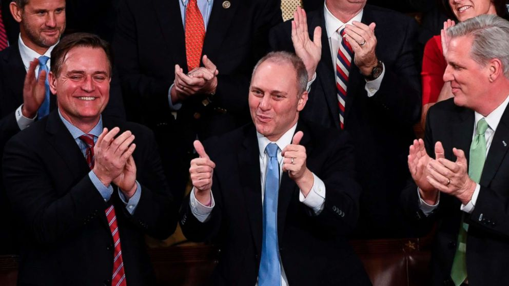 US Representative Steve Scalise gestures as President Donald Trump speaks during the State of the Union address at the US Capitol in Washington, Jan. 30, 2018.