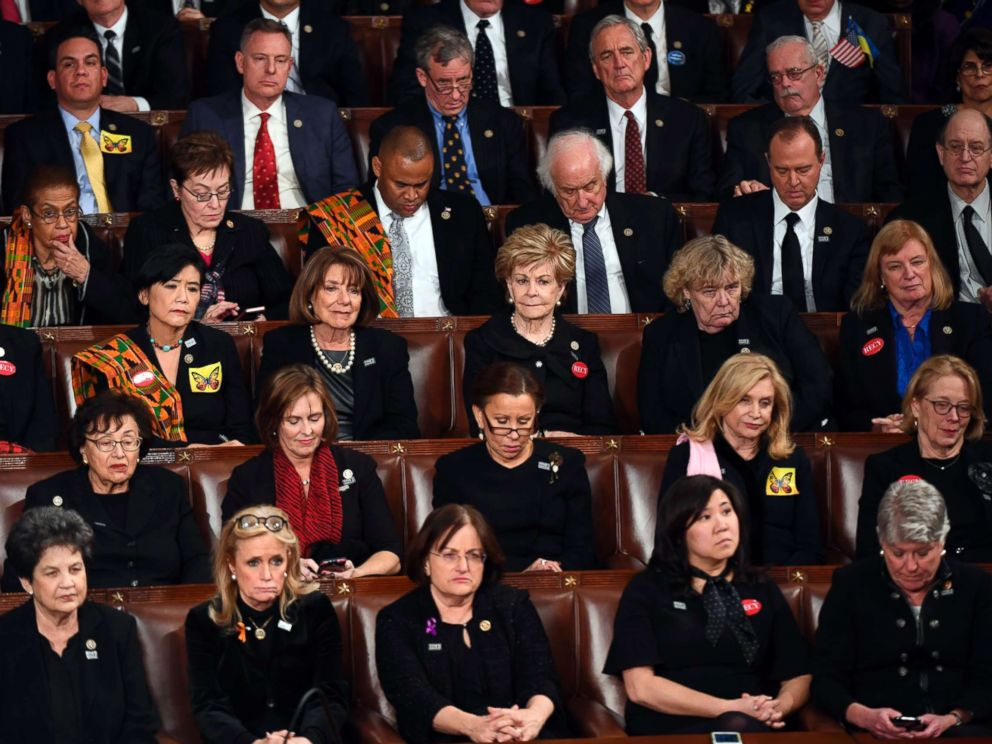 PHOTO: Democratic members of congress listen as President Donald Trump delivers the State of the Union address from the House chamber of the United States Capitol, Jan. 30, 2018.
