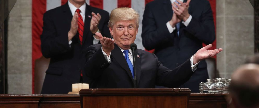 PHOTO: President Donald Trump delivers the State of the Union address as U.S. Vice President Mike Pence and Speaker of the House Paul Ryan look on in the chamber of the U.S. House of Representatives, Jan. 30, 2018.