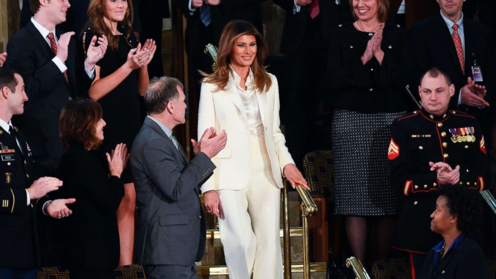First Lady Melania Trump arrives for the State of the Union address at the U.S. Capitol in Washington, Jan. 30, 2018.