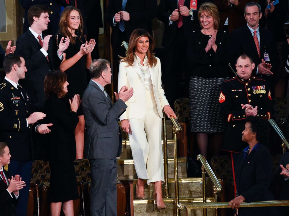 PHOTO: First Lady Melania Trump arrives for the State of the Union address at the U.S. Capitol in Washington, Jan. 30, 2018.