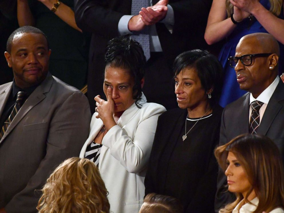 PHOTO: Robert Mickens, Elizabeth Alvarado, Evelyn Rodriguez, and Freddy Cuevas are recognized during the State of the Union address at the US Capitol in Washington, Jan. 30, 2018.