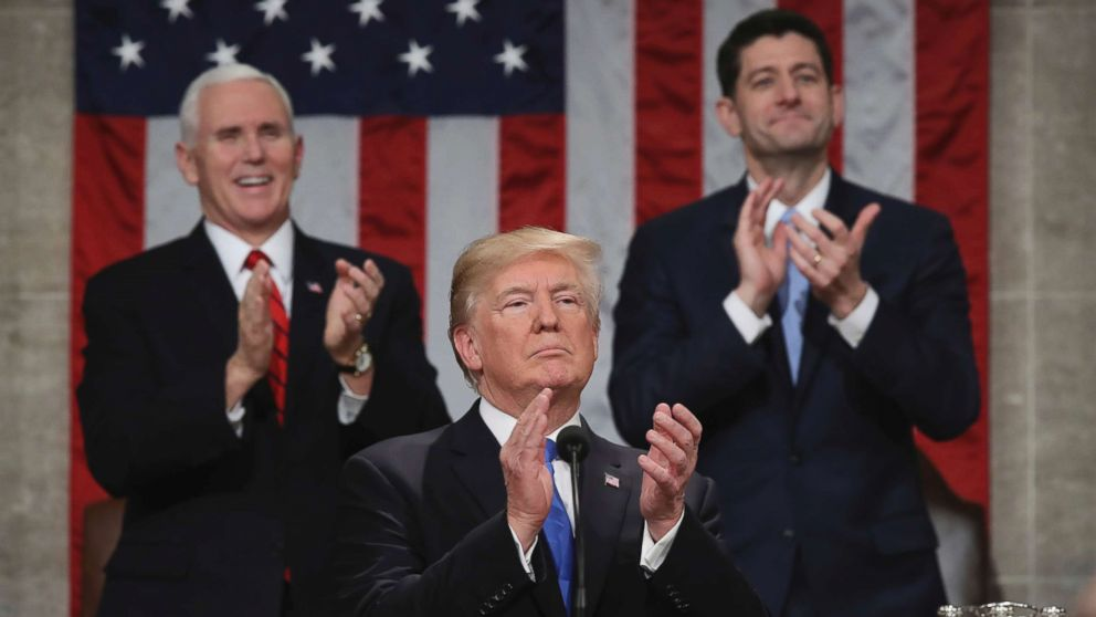 President Donald Trump pauses as he gives his first State of the Union address in the House chamber of the U.S. Capitol to a joint session of Congress, Jan. 30, 2018 in Washington.