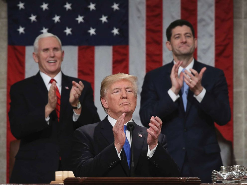 PHOTO: President Donald Trump pauses as he gives his first State of the Union address in the House chamber of the U.S. Capitol to a joint session of Congress, Jan. 30, 2018 in Washington.
