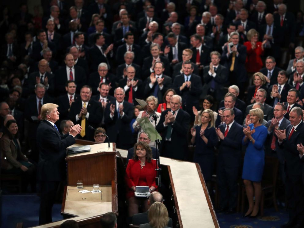 PHOTO: President Donald Trump delivers the State of the Union address in the chamber of the U.S. House of Representatives Jan. 30, 2018, in Washington.