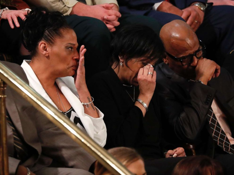PHOTO: The parents of two girls whose murders have been attributed to MS-13, cry as U.S. President Donald Trump introduces them during his State of the Union address in Washington, Jan. 30, 2018.