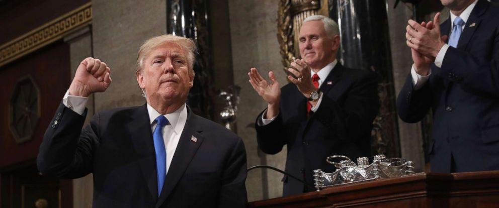 PHOTO: President Donald Trump gestures after his State of the Union address in the chamber of the U.S. House of Representatives in Washington, Jan. 30, 2018.