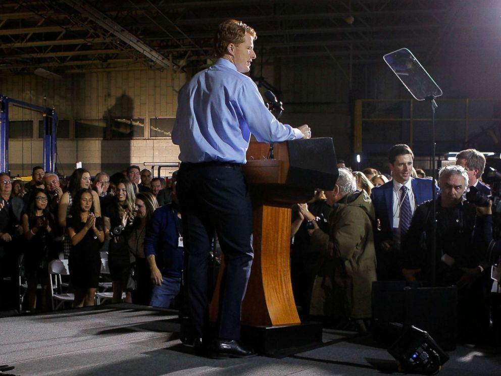 PHOTO: Rep. Joe Kennedy III takes the stage to deliver the Democratic rebuttal to President Donald Trumps State of the Union address in Fall River, Mass., Jan. 30, 2018.