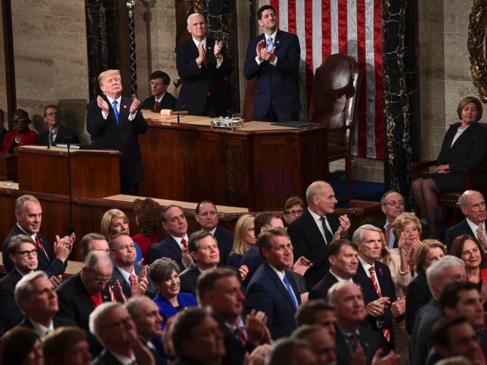 PHOTO: President Donald Trump leads applause for guests in the first ladys box during the State of the Union address to a joint session of Congress on Capitol Hill in Washington, Jan. 30, 2018.
