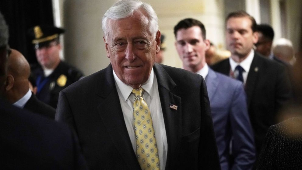 House Minority Whip Rep. Steny Hoyer (D-MD) leaves after a session of House Democrats organizational meeting, Nov. 28, 2018, in Washington, D.C.