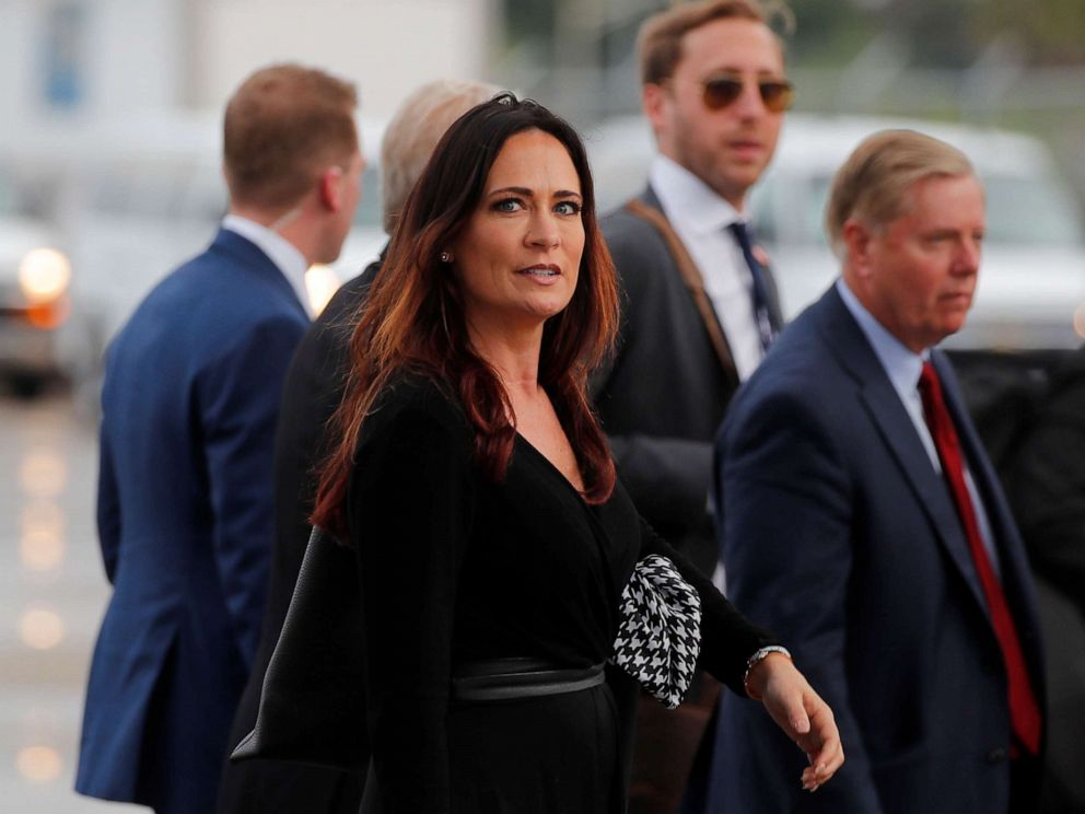 PHOTO: Stephanie Grisham, spokesperson for first lady Melania Trump, arrives for a campaign rally with President Donald Trump in Orlando, Fla., on June 18, 2019.