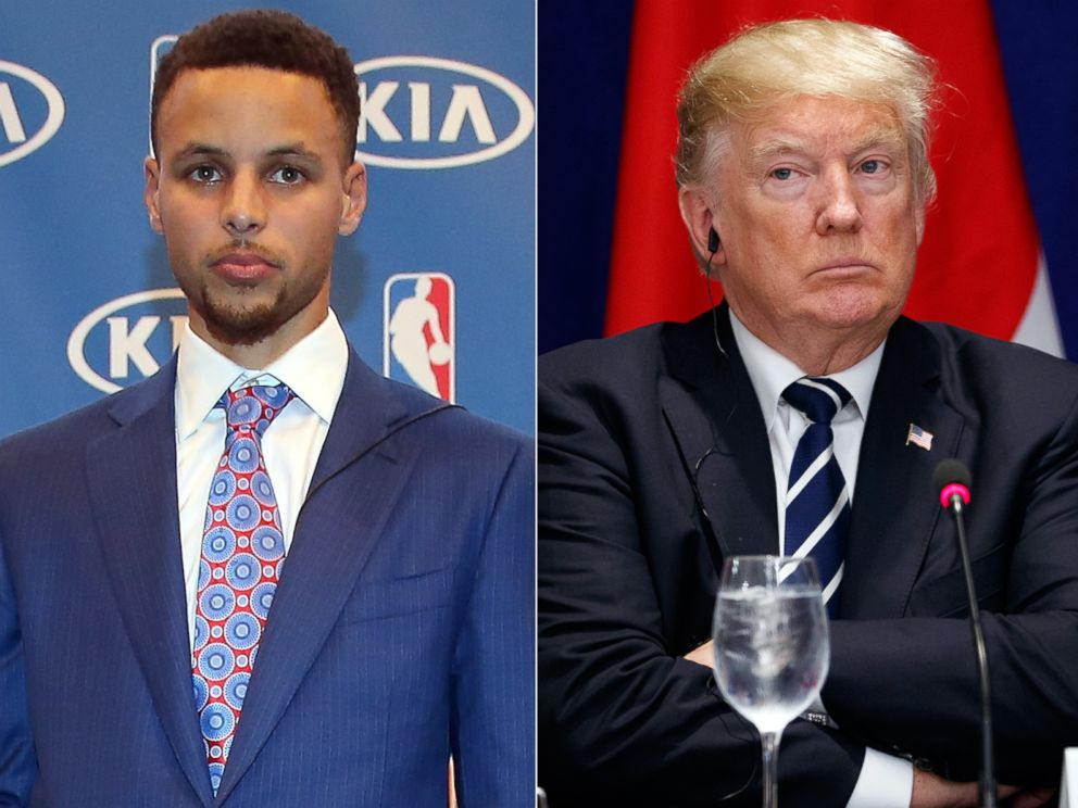 PHOTO: Pictured (L-R) are Stephen Curry in Oakland, Calif., May 10, 2016 and President Donald Trump in New York, Sept. 21, 2017.