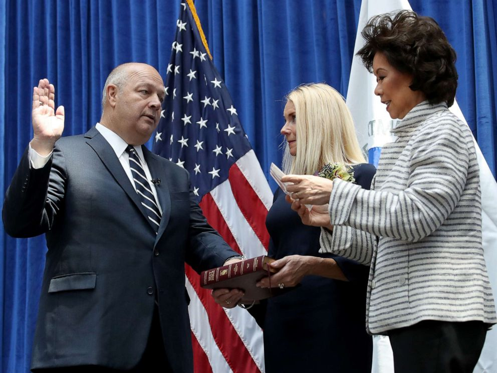 PHOTO: Stephen Dickson is sworn in as FAA administrator by Transportation Secretary Elaine Chao during a ceremony at the Department of Transportation August 12, 2019, in Washington, D.C.