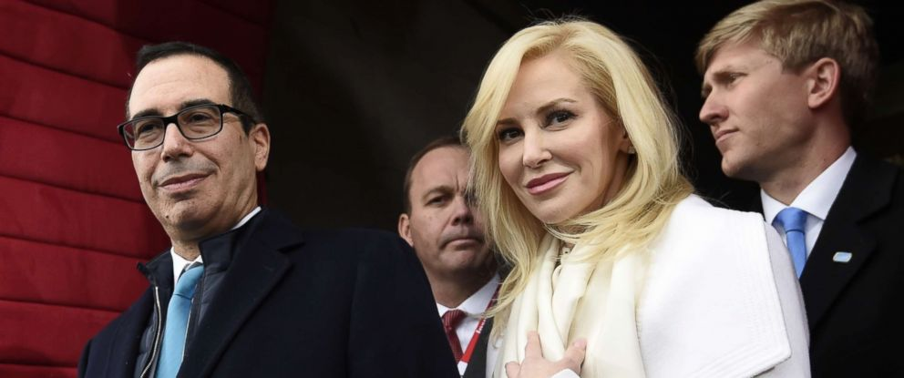 PHOTO: Stephen Mnuchin and his fiancee, Louise Linton, arrive on Capitol Hill in Washington, for the presidential inauguration of Donald Trump in this Jan. 20, 2017 file photo.