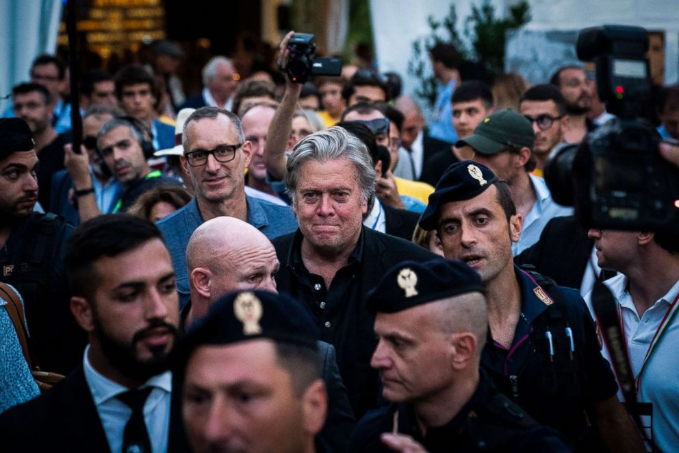 PHOTO: Former White House Chief Strategist Steve Bannon makes his way through crowds surrounded by his entourage after speaking at Atreju 2018, a conference of right-wing activists, Sept. 22, 2018, in Rome, Italy.