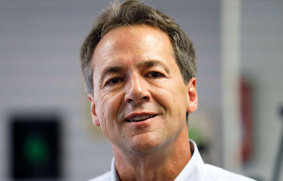 PHOTO: Democratic presidential candidate Montana Gov. Steve Bullock speaks to reporters after touring the POET Biorefining facility, July 9, 2019, in Gowrie, Iowa.