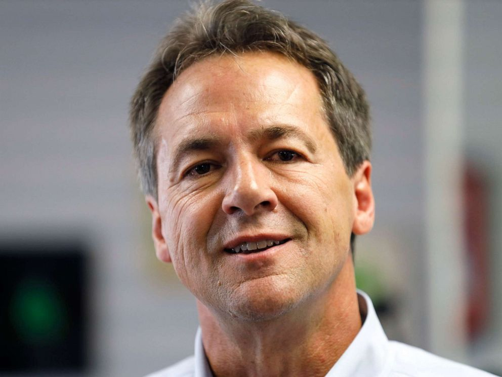 PHOTO: Democratic presidential candidate Montana Gov. Steve Bullock speaks to reporters on July 9, 2019, in Gowrie, Iowa.