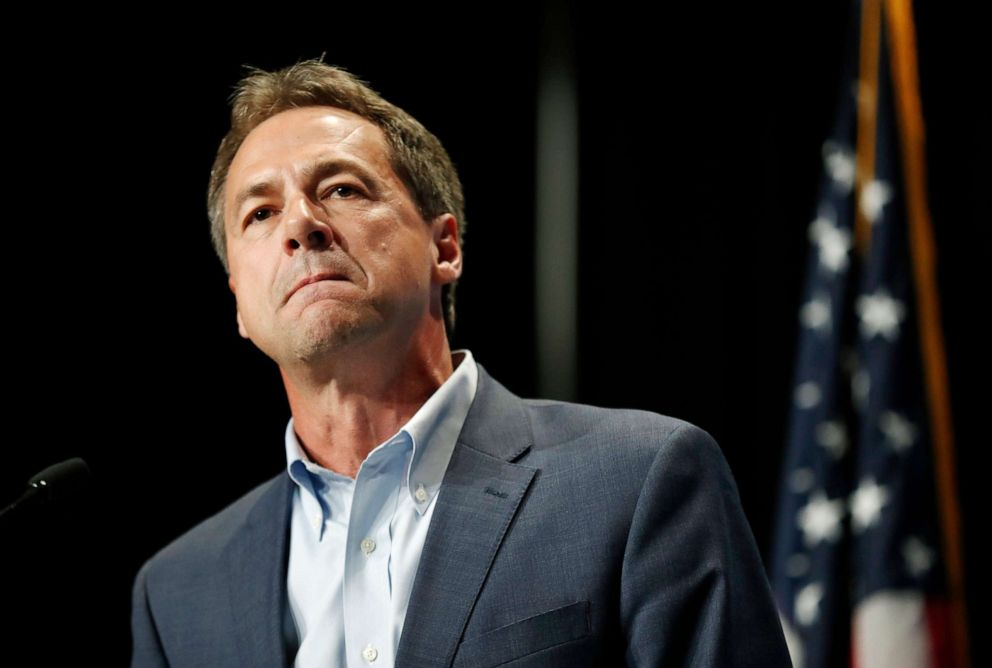 PHOTO: In this June 9, 2019, file photo, Democratic presidential candidate Steve Bullock speaks during the Iowa Democratic Partys Hall of Fame Celebration in Cedar Rapids, Iowa.