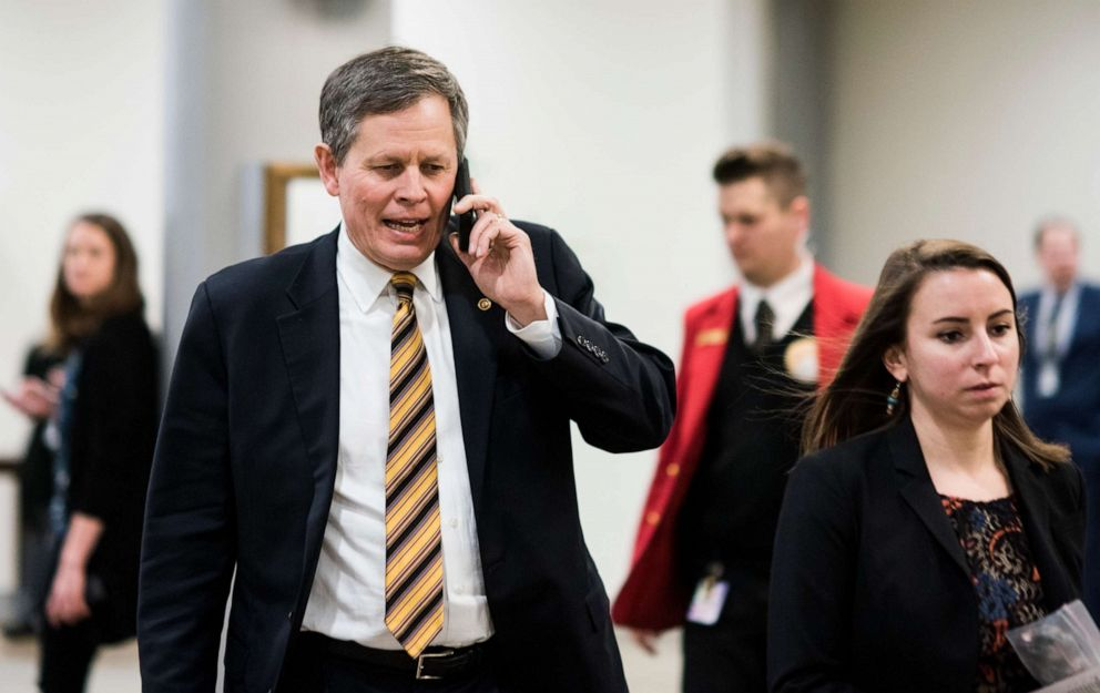 PHOTO: Sen. Steve Daines walks to the Capitol from the Senate subway on Jan. 31, 2019.