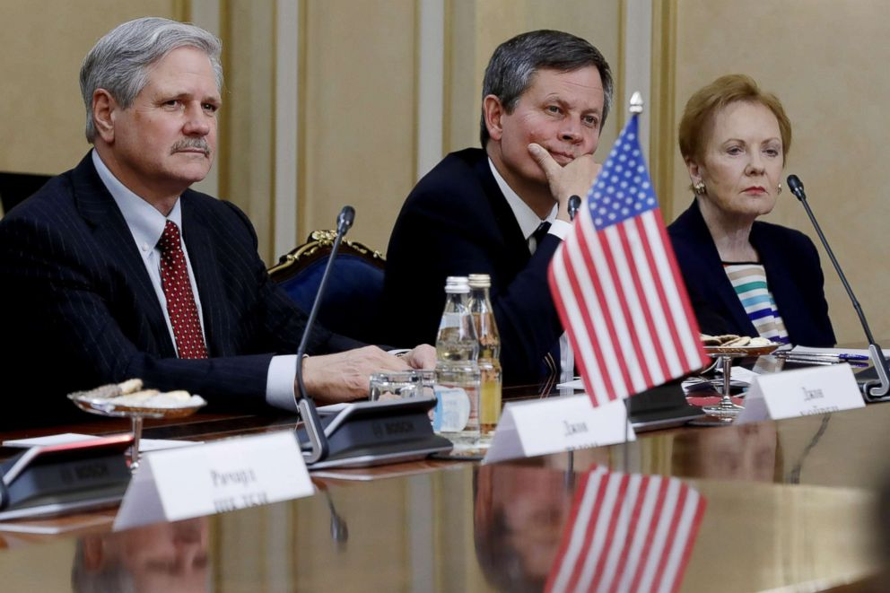 PHOTO: Senator John Hoeven, Senator Steve Daines and Texas Representative in the US House of Representatives, Kay Granger during a meeting with Russian Federation Council members at the Russian Federation Council, July 3, 2018 in Moscow.