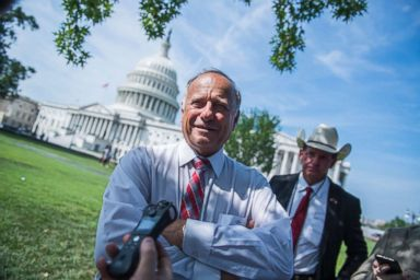 PHOTO: Rep. Steve King attends a rally with Angel Families on the East Front of the Capitol, to highlight crimes committed by illegal immigrants in the U.S., on Sept. 7, 2018.