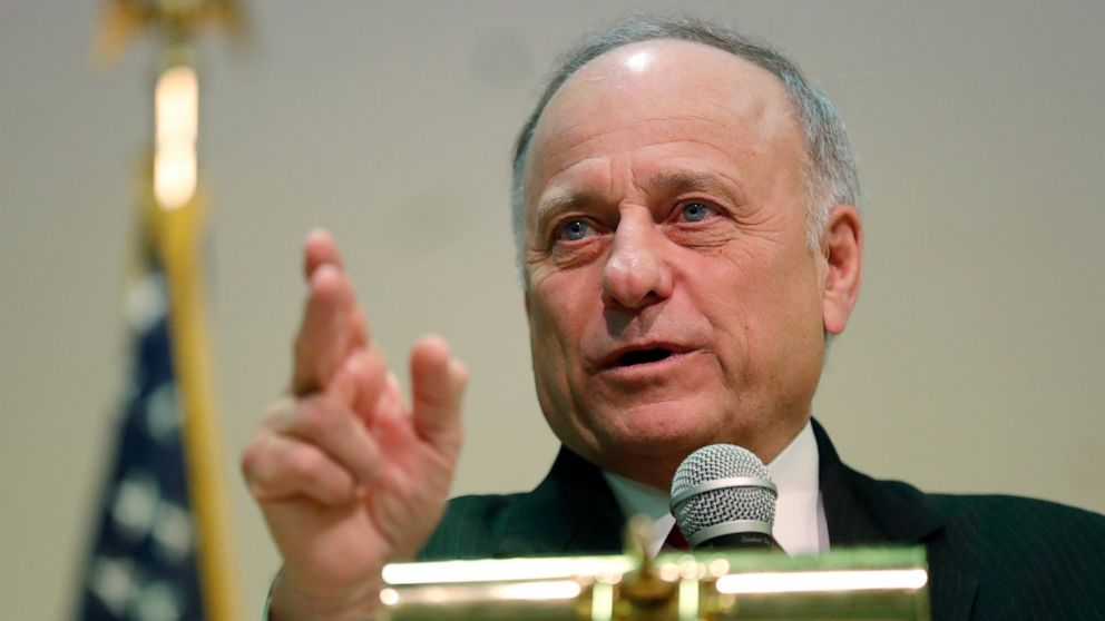 In this Jan. 26, 2019 file photo, Rep. Steve King, R-Iowa, speaks during a town hall meeting, in Primghar, Iowa.