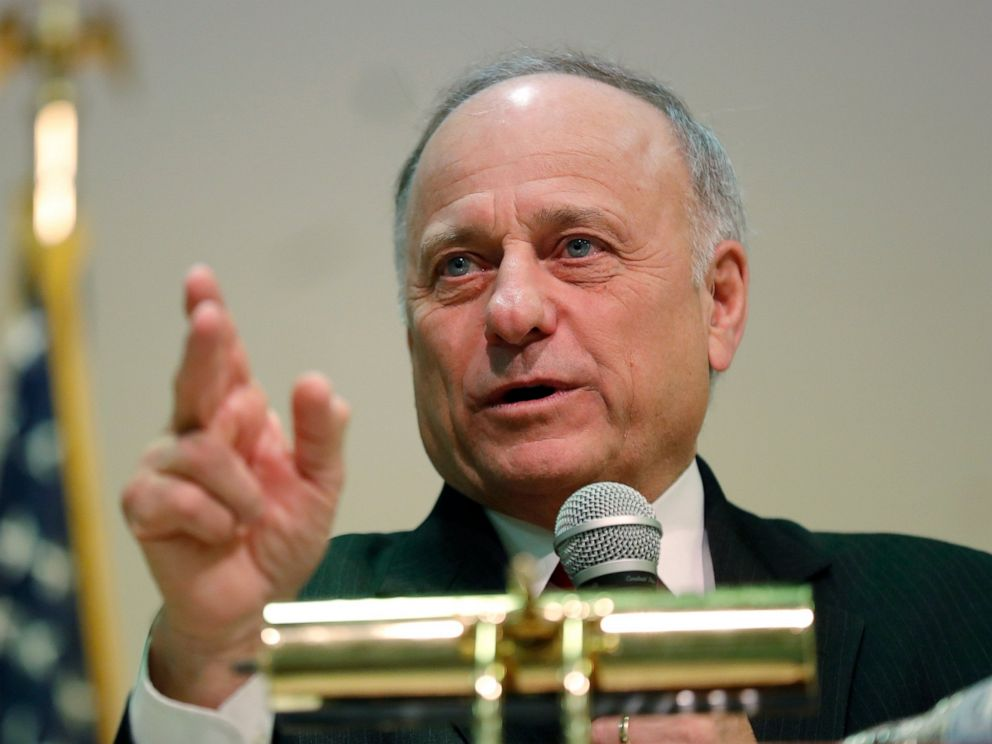 PHOTO: In this Jan. 26, 2019 file photo, Rep. Steve King, R-Iowa, speaks during a town hall meeting, in Primghar, Iowa.