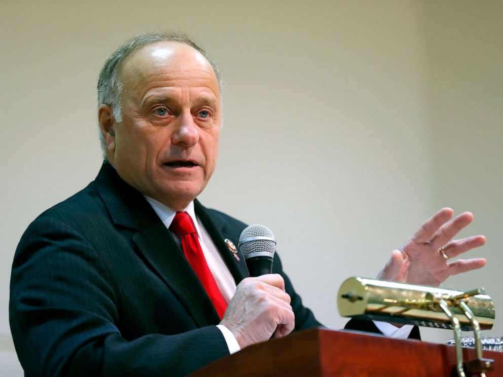 PHOTO: Rep. Steve King speaks during a town hall meeting in Primghar, Iowa, Jan. 26, 2019.