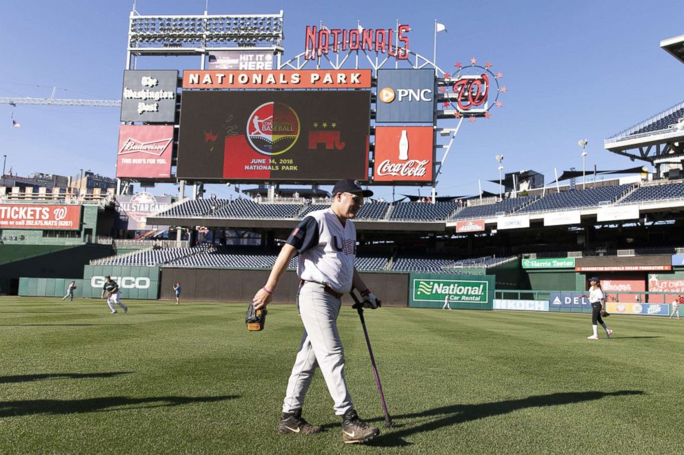 PHOTO: House of Representatives Majority Whip Steve Scalise walks off the field after warming up prior to the Congressional Baseball Game, June 14, 2018, in Washington, DC.