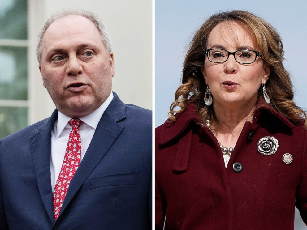PHOTO: House Minority Whip Steve Scalise speaks to the press in Washington, Jan. 2, 2019, and former Rep. Gabby Giffords attends an event on Capitol Hill, Feb. 26, 2019.