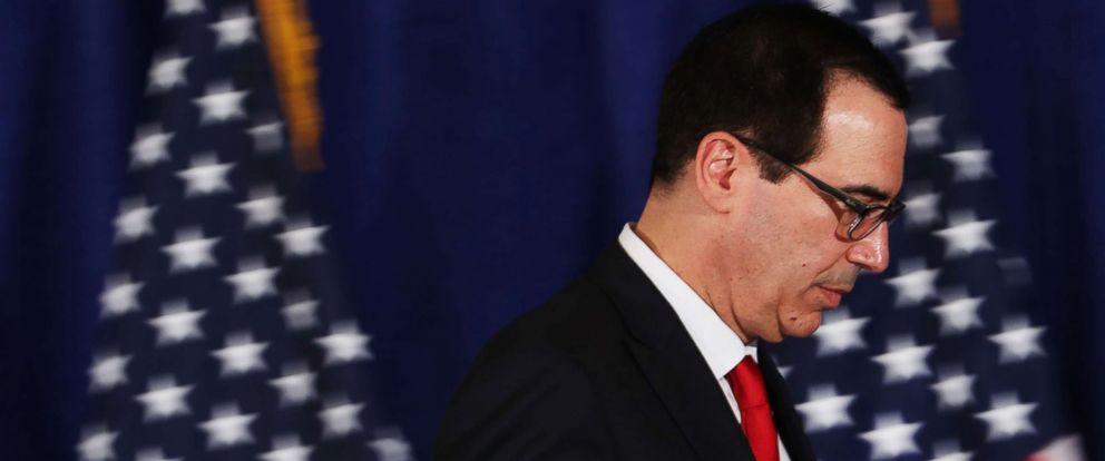 PHOTO: Treasury Secretary Steven Mnuchin walks off the podium following a news conference on Sept. 21, 2017 in New York.