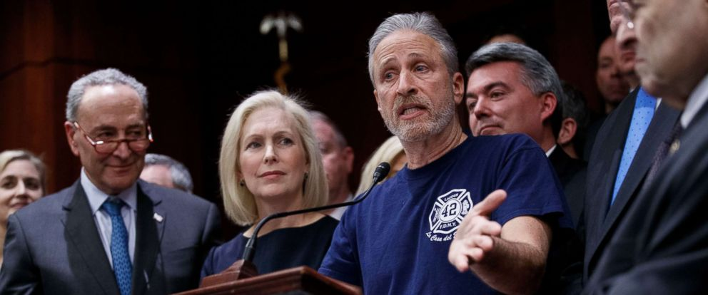 PHOTO: Jon Stewart delivers remarks during a press conference to introduce legislation that would permanently fund the 9/11 Victims Compensation Fund at the Capitol, Feb. 25, 2019.