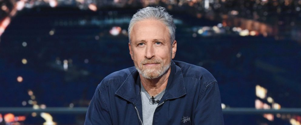 """PHOTO: Jon Stewart appears as a guest on """"The Late Show with Stephen Colbert,"""" June 17, 2019."""