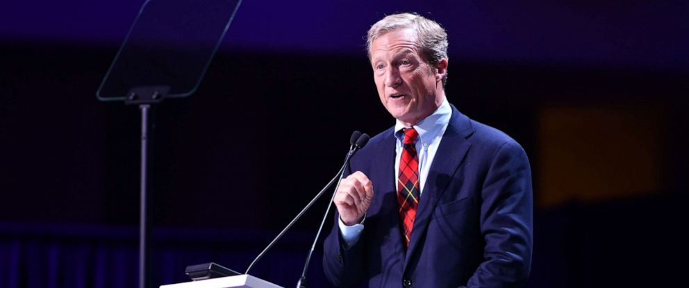 PHOTO: Tom Steyer speaks on stage during the 2019 California Democratic Party State Convention at Moscone Center in San Francisco, California on June 1, 2019.