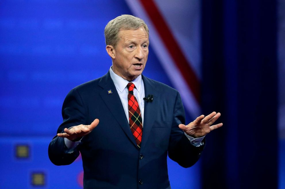 PHOTO: Democratic presidential candidate Tom Steyer speaks during the Power of our Pride Town Hall, Oct. 10, 2019, in Los Angeles.
