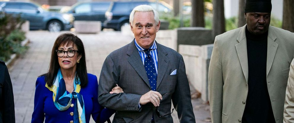 PHOTO: Roger Stone, and his wife Nydia, arrive at Federal Court for his federal trial in Washington, Friday, Nov. 8, 2019.