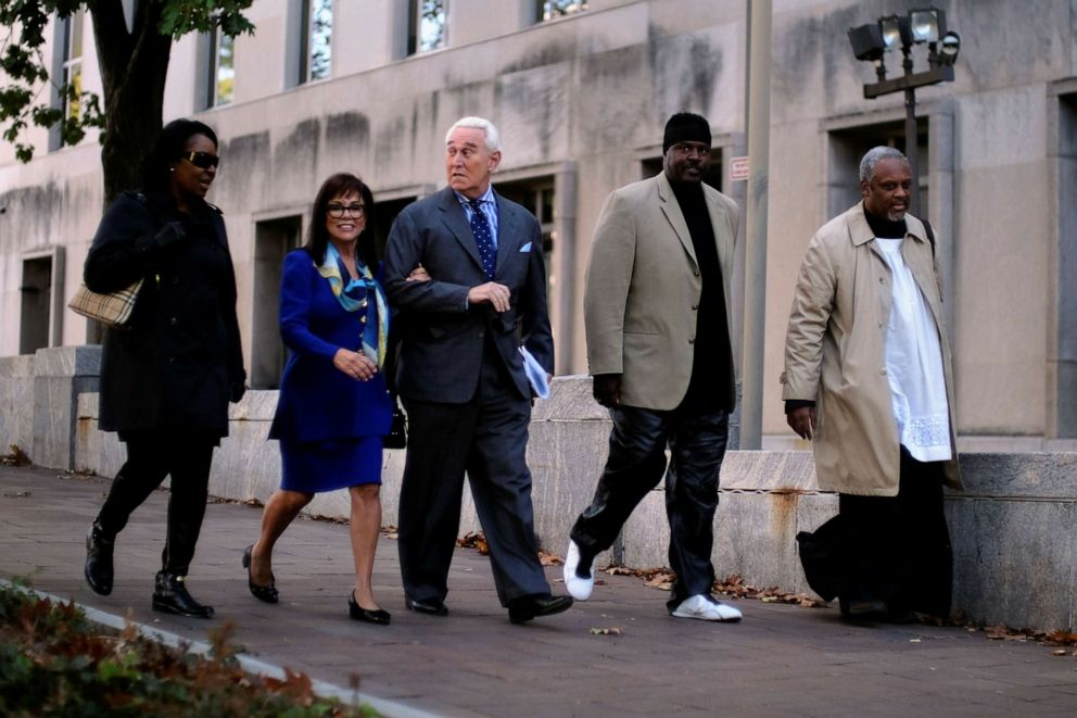 PHOTO: Roger Stone, former campaign adviser to U.S. President Donald Trump, and his wife Nydia Stone arrive for the continuation of his criminal trial on charges of lying to Congress, obstructing justice and witness tampering.
