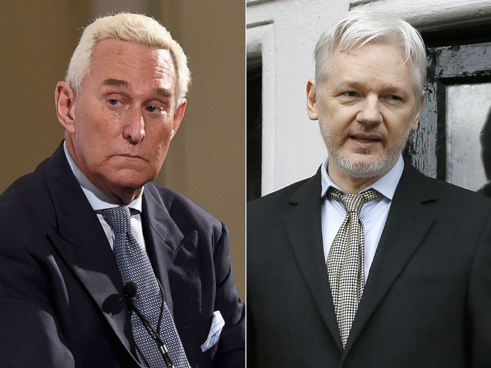 PHOTO: Roger Stone speaks at the Pasadena Convention Center on July 30, 2017 in Pasadena, Calif. WikiLeaks founder Julian Assange speaks from the balcony of the Ecuadorean Embassy in London, Feb. 5, 2016.