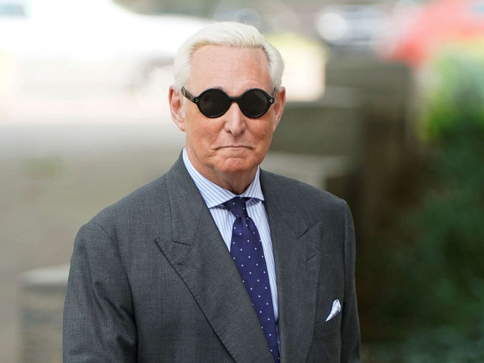 PHOTO: Roger Stone, politically allied by President Donald Trump, comes to a state hearing in criminal proceedings against him brought by Special Counsel Robert Mueller of the US District Court in Washington DC, April 30, 2019.
