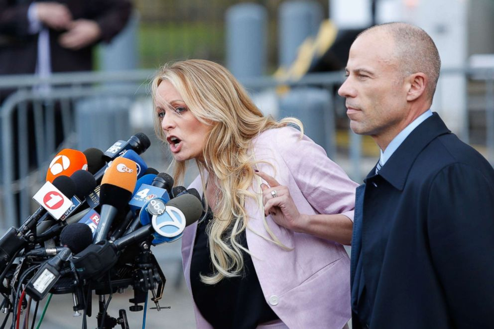 Adult-film actress Stephanie Clifford, also known as Stormy Daniels, speaks outside U.S. Federal Court with her lawyer Michael Avenatti in New York, April 16, 2018.