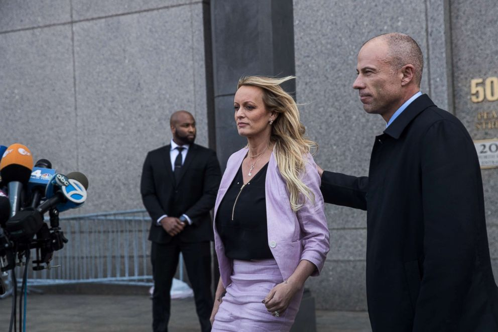 PHOTO: Stormy Daniels (Stephanie Clifford) and Michael Avenatti, attorney for Stormy Daniels, exit the courthouse on April 16, 2018 in New York City.