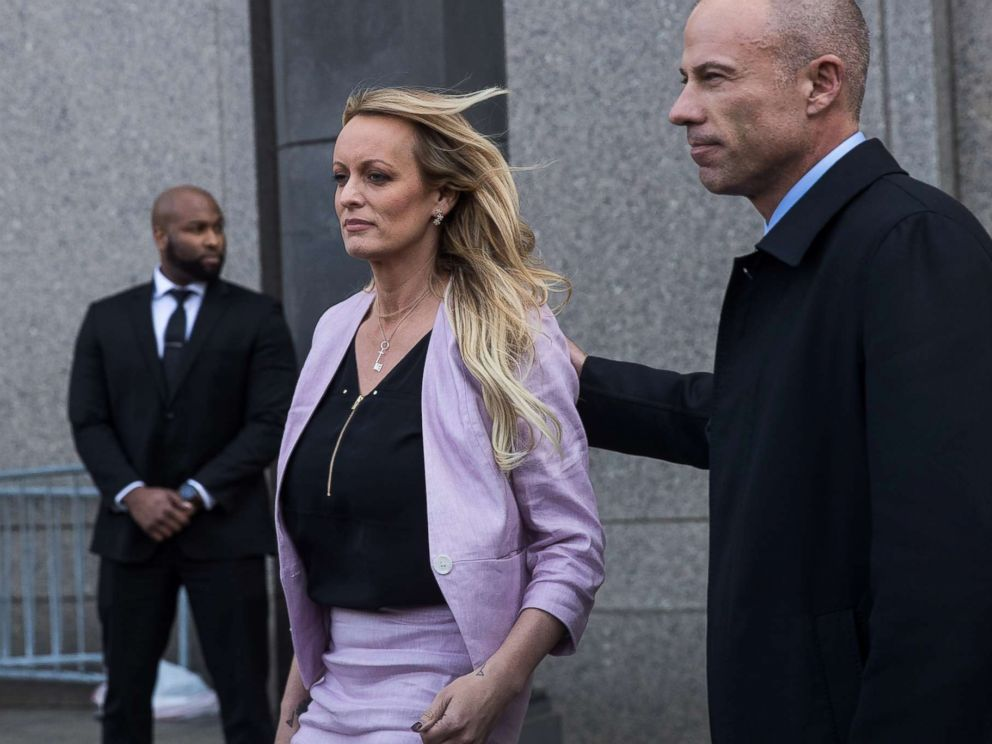 PHOTO: Stormy Daniels (Stephanie Clifford) and Michael Avenatti, attorney for Stormy Daniels, exit the courthouse, April 16, 2018 in New York City.