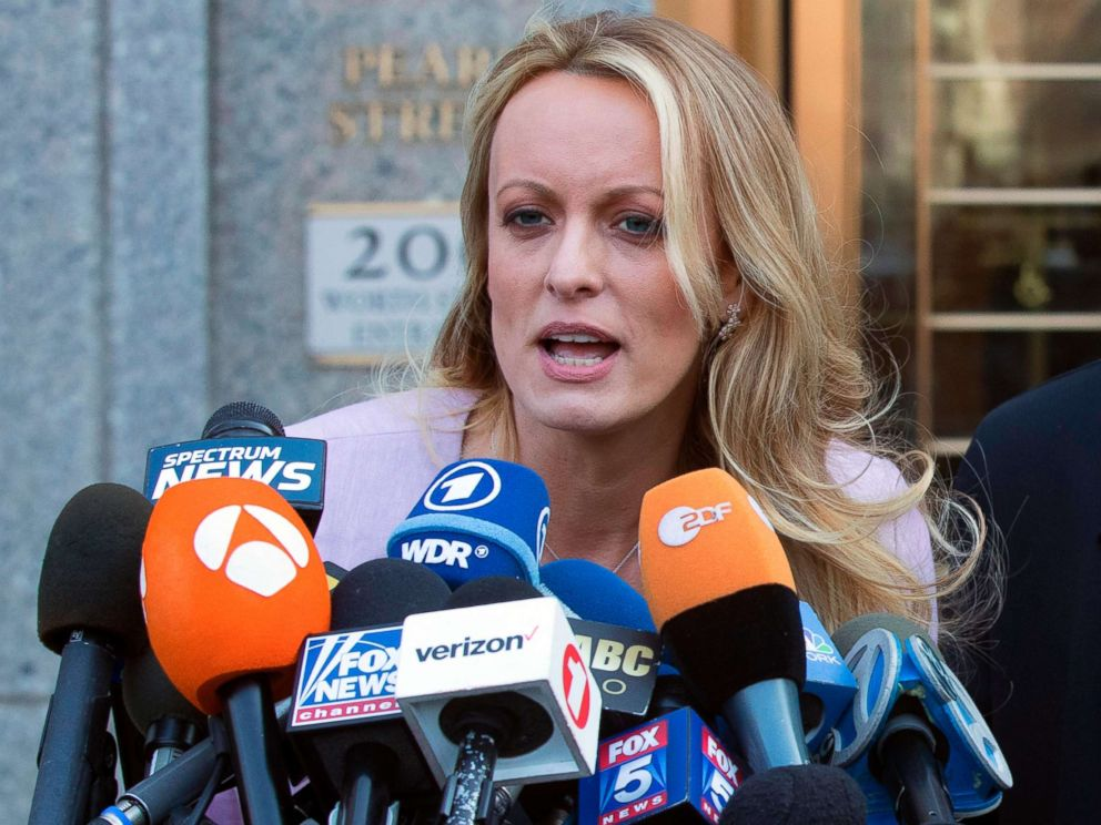 PHOTO: Adult film actress Stormy Daniels speaks outside federal court in New York, April 16, 2018.