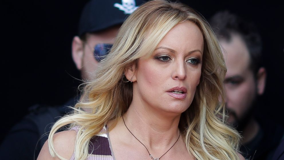 "Adult film actress Stormy Daniels arrives for the opening of the adult entertainment fair ""Venus"" in Berlin, Oct. 11, 2018."