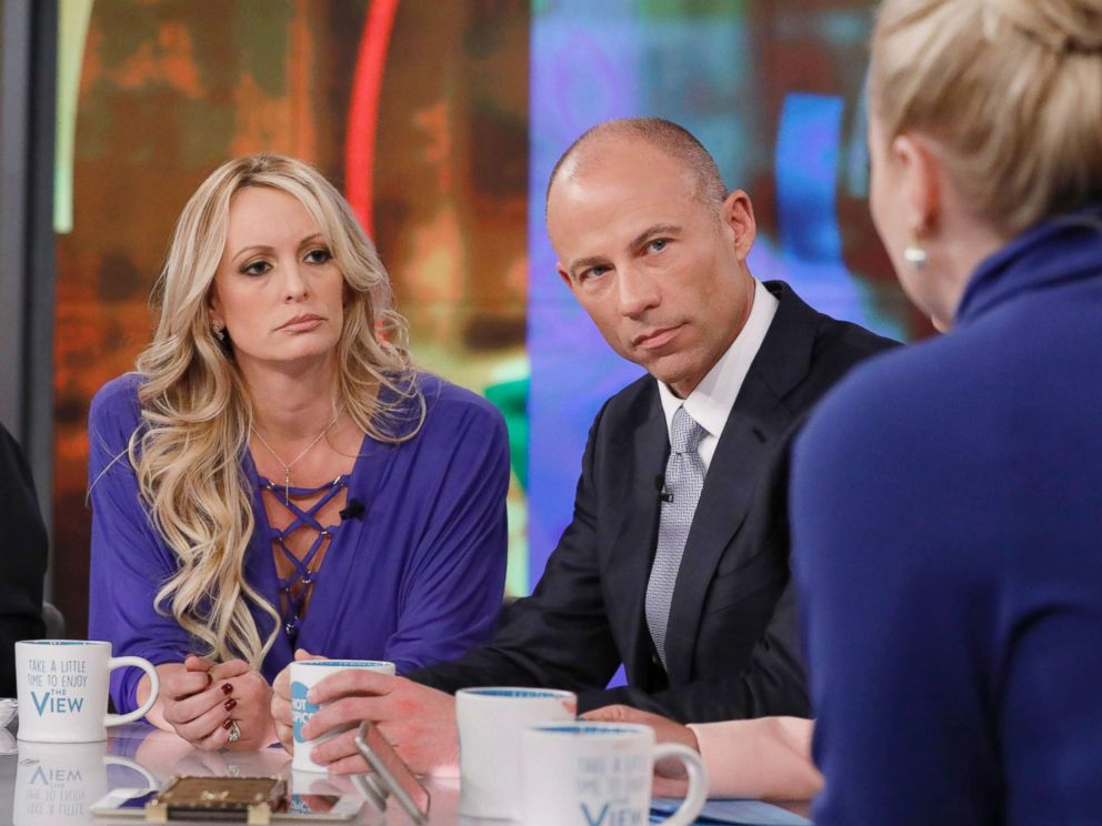 PHOTO: Stormy Daniels and her Attorney Michael Avenatti appear on The View, April 17, 2018.