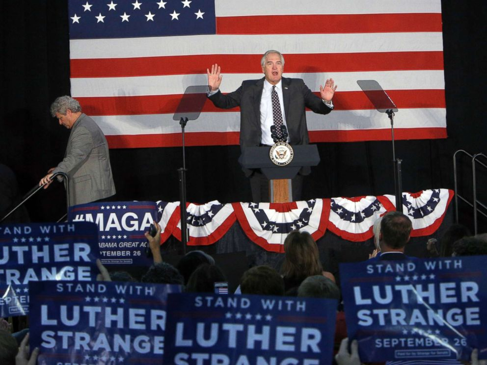PHOTO: Sen. Luther Strange speaks at a campaign rally with Vice President Mike Pence at HealthSouth Aviation on September 25, 2017 in Birmingham, Alabama.