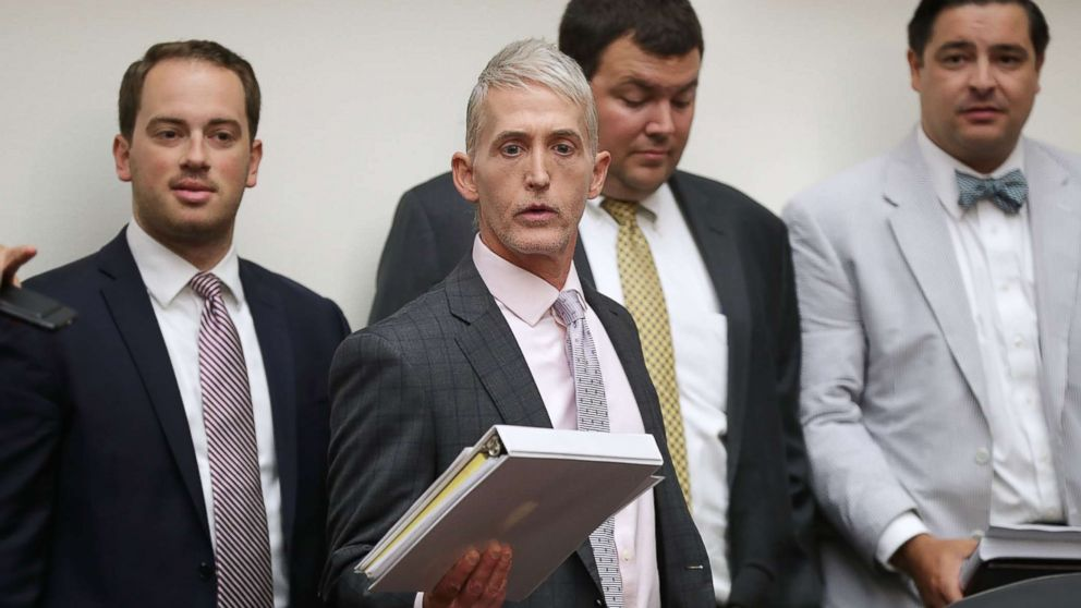 House Oversight and Government Reform Committee Chairman Trey Gowdy arrives for a joint hearing of his committee and the House Judiciary Committee on Capitol Hill July 12, 2018 in Washington.