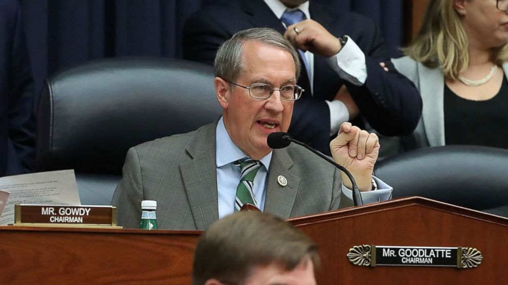 Chairman Bob Goodlatte questions Deputy Assistant FBI Director Peter Strzok speaks during a joint hearing of the House Judiciary and Oversight and Government Reform committees on Capitol Hill, July 12, 2018, in Washington.