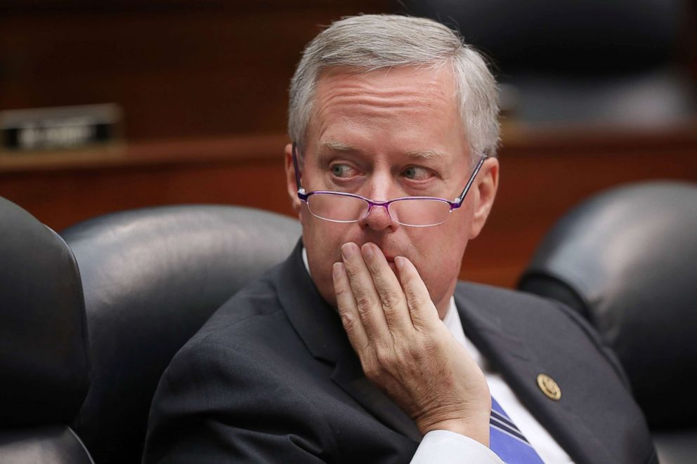 PHOTO: Rep. Mark Meadows listens to testimony from Deputy Assistant FBI Director Peter Strzok during a joint hearing of his committee and the House Judiciary Committee on Capitol Hill, July 12, 2018, in Washington.